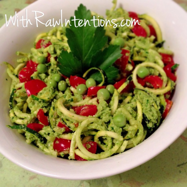Raw Zucchini Pasta with Pea Pesto | With Raw Intentions